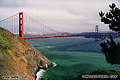 This view of the Golden Gate bridge was taken from the Marin Headlands on the north side of the bridge. San Francisco can be seen in the background. San Francisco, CA. 'Nikon F100 35mm SLR' (Click for larger view)