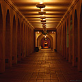 Night hallway view at Balboa Park. San Diego, CA 'Nikon F100 35mm SLR' (Click for larger view)