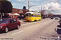 This picture of a yellow trolley car was taken while standing on the street at Fisherman's Wharf. San Francisco, CA. 'Minolta X700 35mm SLR' (Click for larger view)