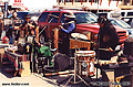 Street musicians selling their wares along Fisherman's Wharf. San Francisco, CA 'Minolta X700 35mm SLR' (Click for larger view)