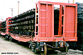 Train car stacked with track sections. Roseville, CA 'Nikon F100 35mm SLR' (Click for larger view)